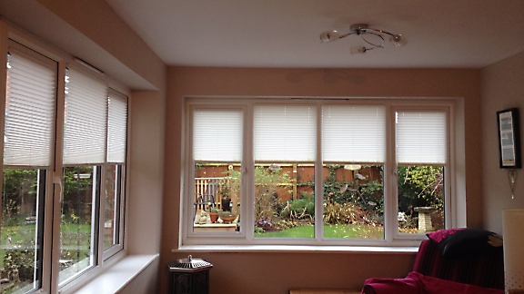 domestic pleated blinds in sun-room