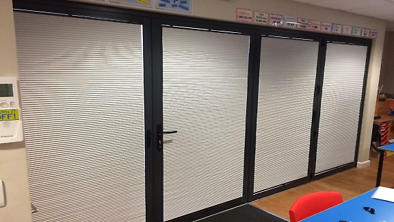 pleated blinds on bi-fold doors