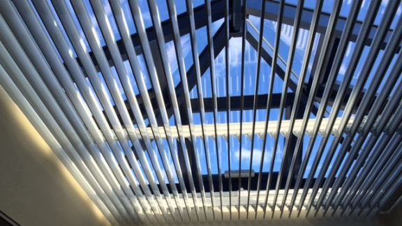 Non-Retracting Louvre Blinds in Roof Lantern - by Saxon Blinds