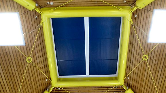 100% Blackout Blinds installed under a Lantern Window - by Saxon Blinds