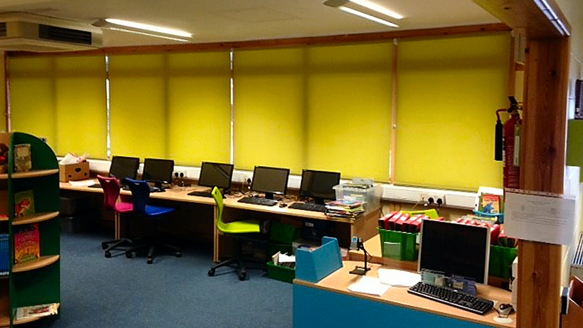 Yellow Roller Blinds in School
